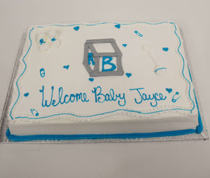 MaArthur's Bakery Custom Cake with Baby Block, Booties, Rattle, Baby Pins