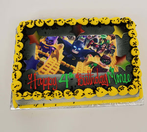 McArthur's Bakery Custom Cake with lego Superhero Scan, Stars.