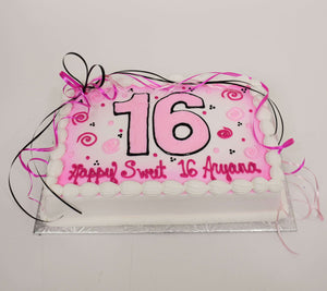 McArthur's Bakery Custom Cake with Large Pink Number, Pink and Black Ribbon