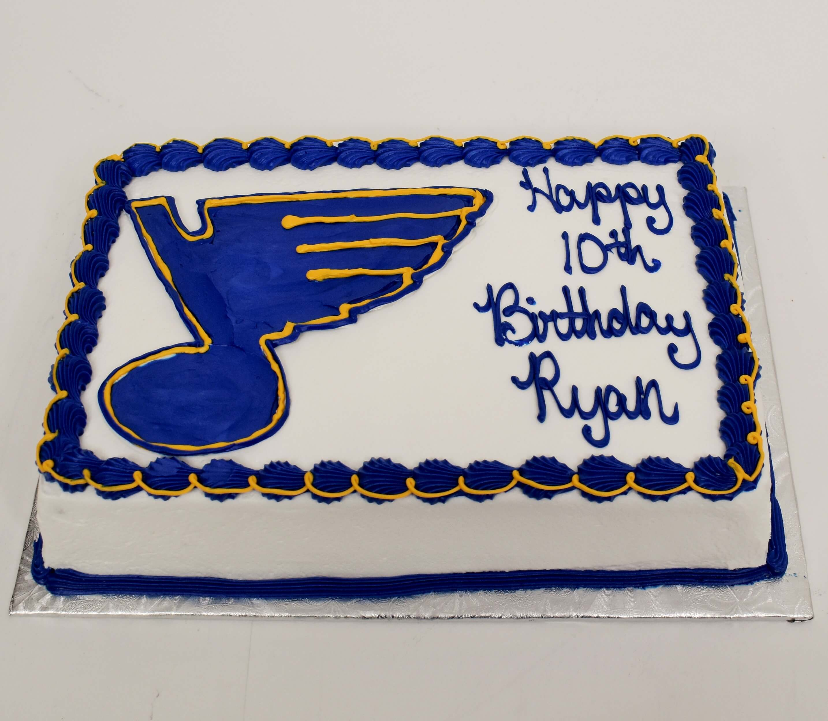 McArthur's Bakery Custom Cake with St Louis Blues Note