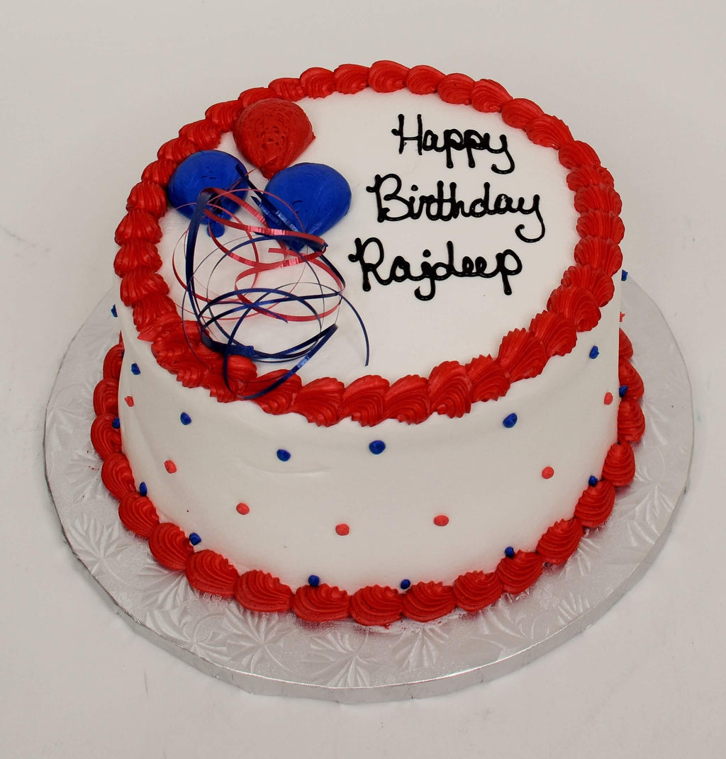 MaArthur's Bakery Custom Cake Red Trim, Blue and Red Balloons