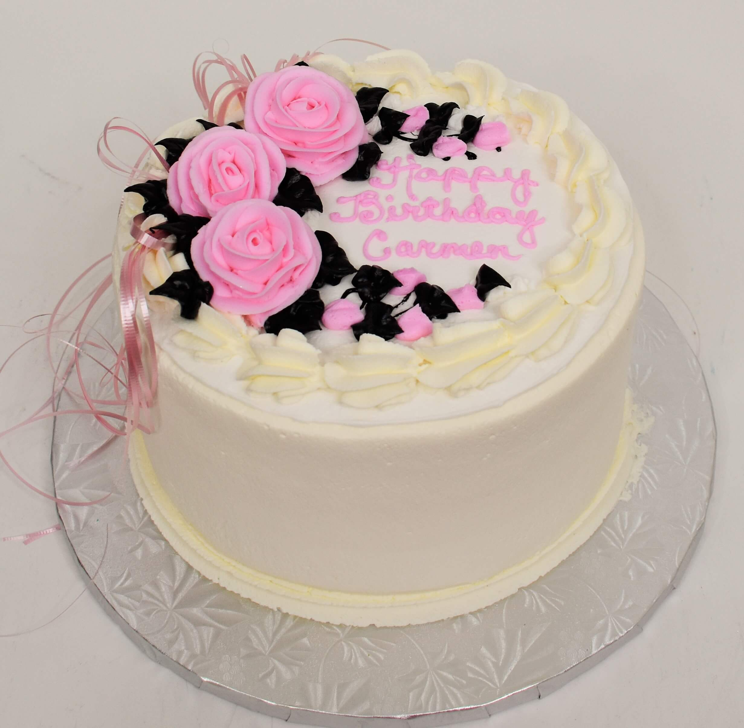 McArthur's Bakery Custom Cake with Large Pink Roses, Black Leaves, Pink Ribbon