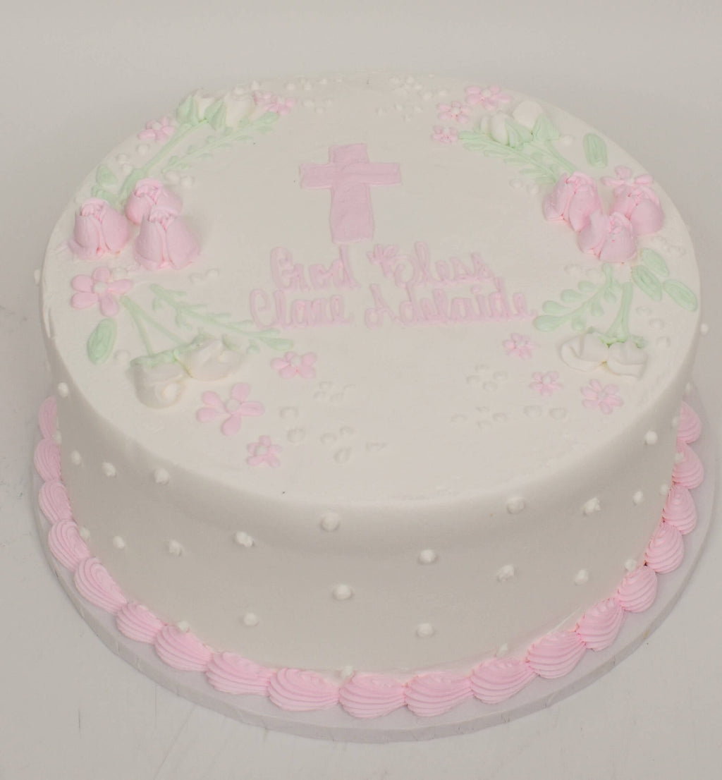 McArthur's Bakery Custom Cake with Pink Cross, Pink Roses