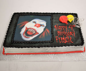 McArthur's Bakery Custom Cake with Evil Clown, red and yellow balloons