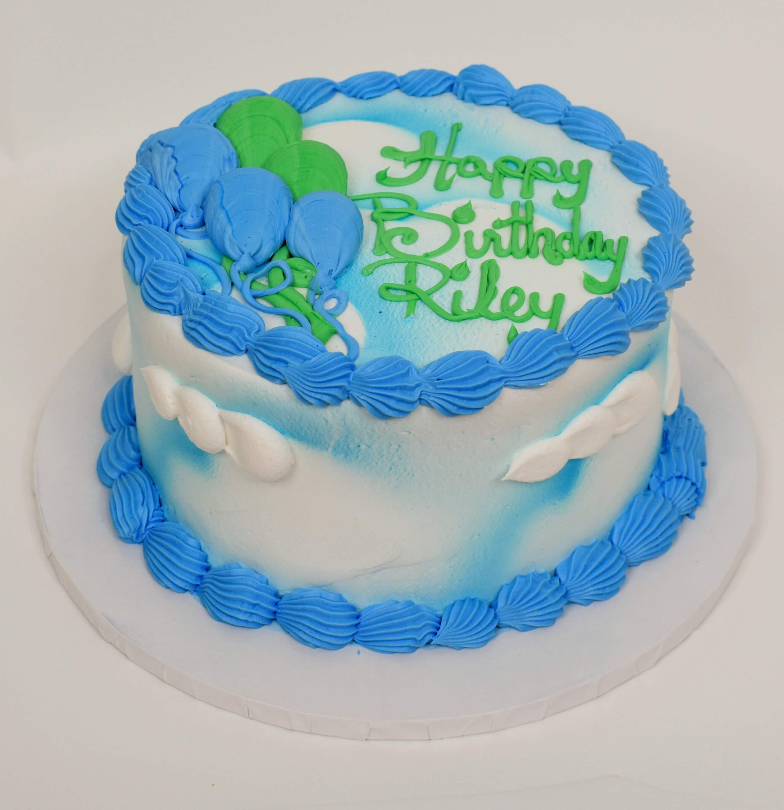 McArthur's Bakery Custom Cake with Blue and Green Balloons, White Clouds and Sky