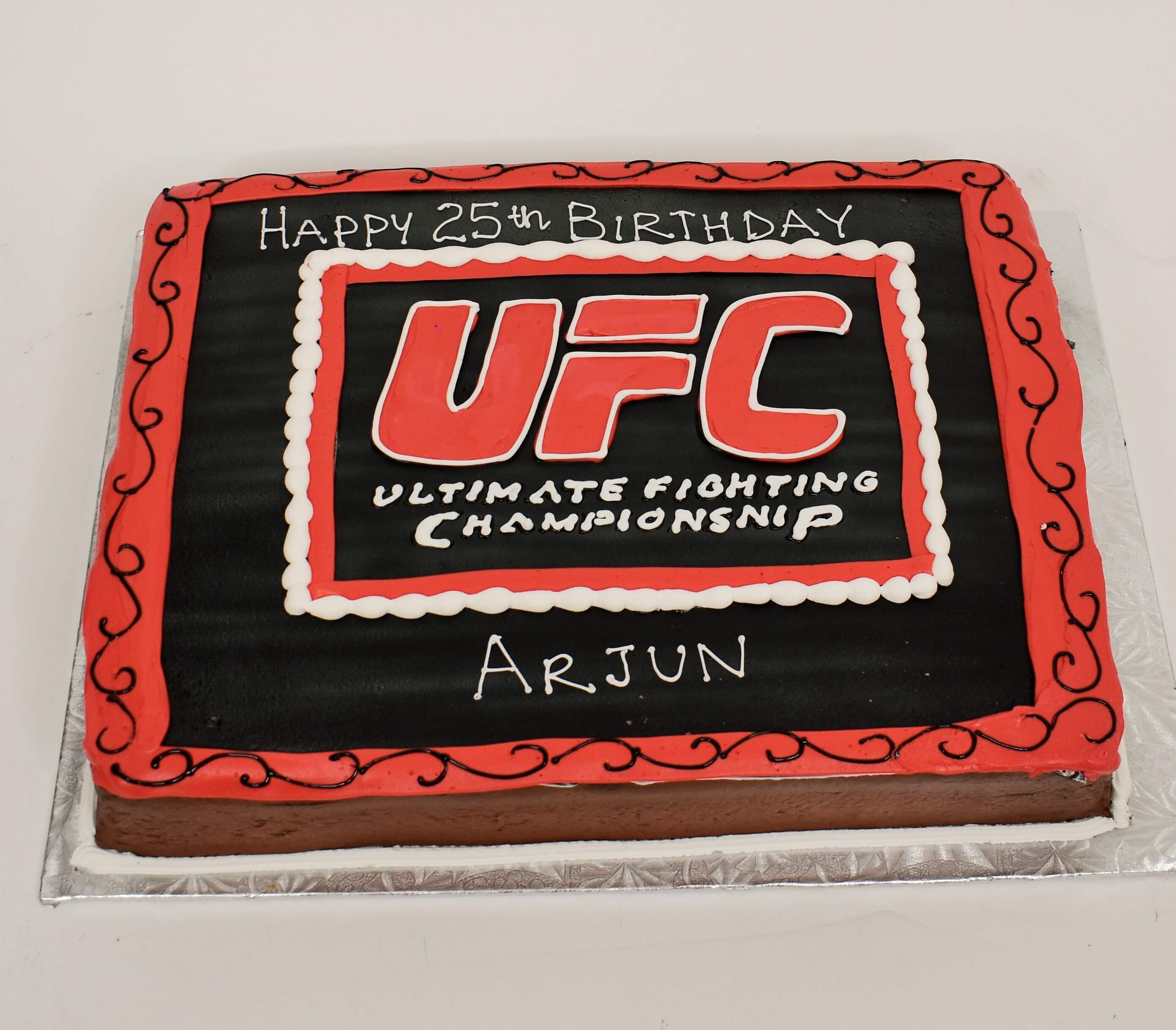 MaArthur's Bakery Custom Cake with UFC, Red, Black Ultimate Fighting Championship