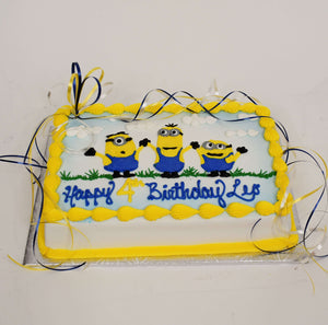 McArthur's Bakery Custom Cake With Three Minions Celebrating