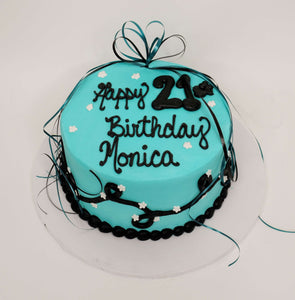 McArthur's Bakery Custom Cake With Black Lettering On Blue/Teal