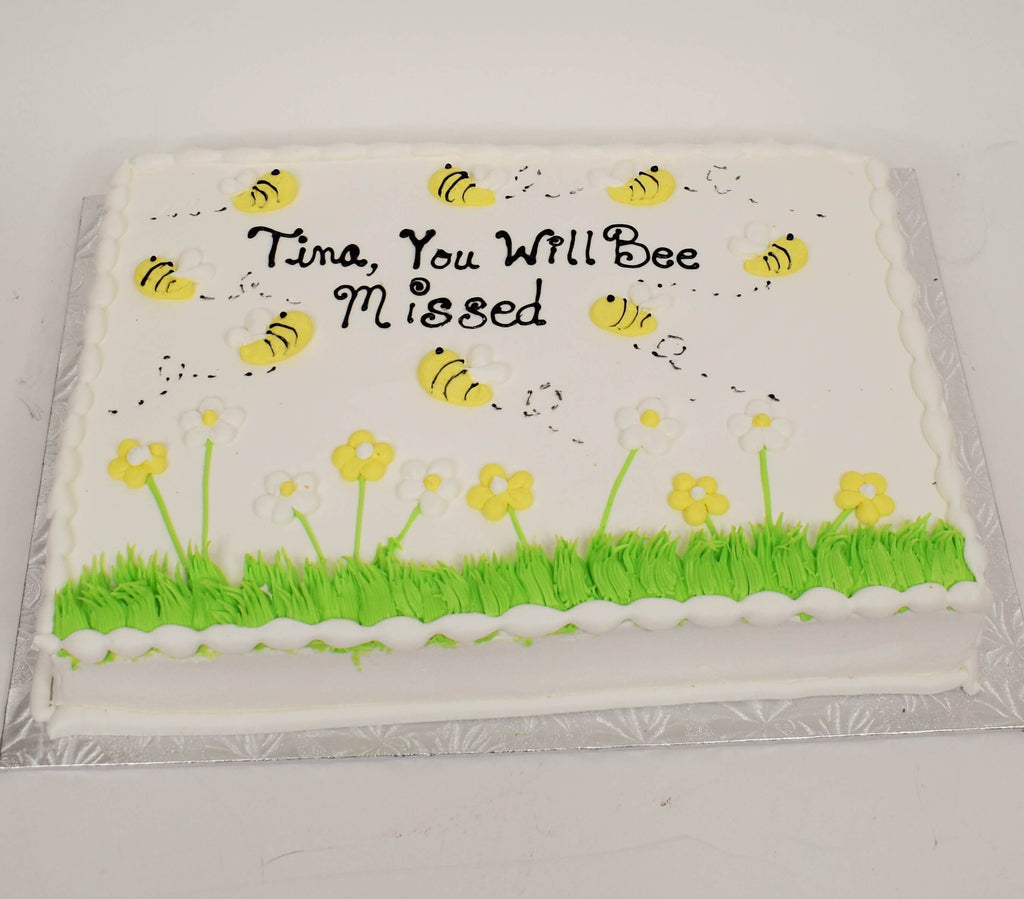 McArthur's Bakery Custom Cake With Bees Flying In a Field