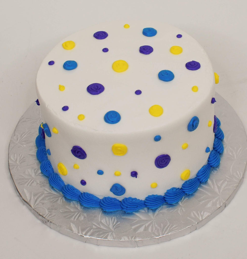 McArthur's Bakery Custom Cake With Yellow, Blue, And Purple Polka Dots