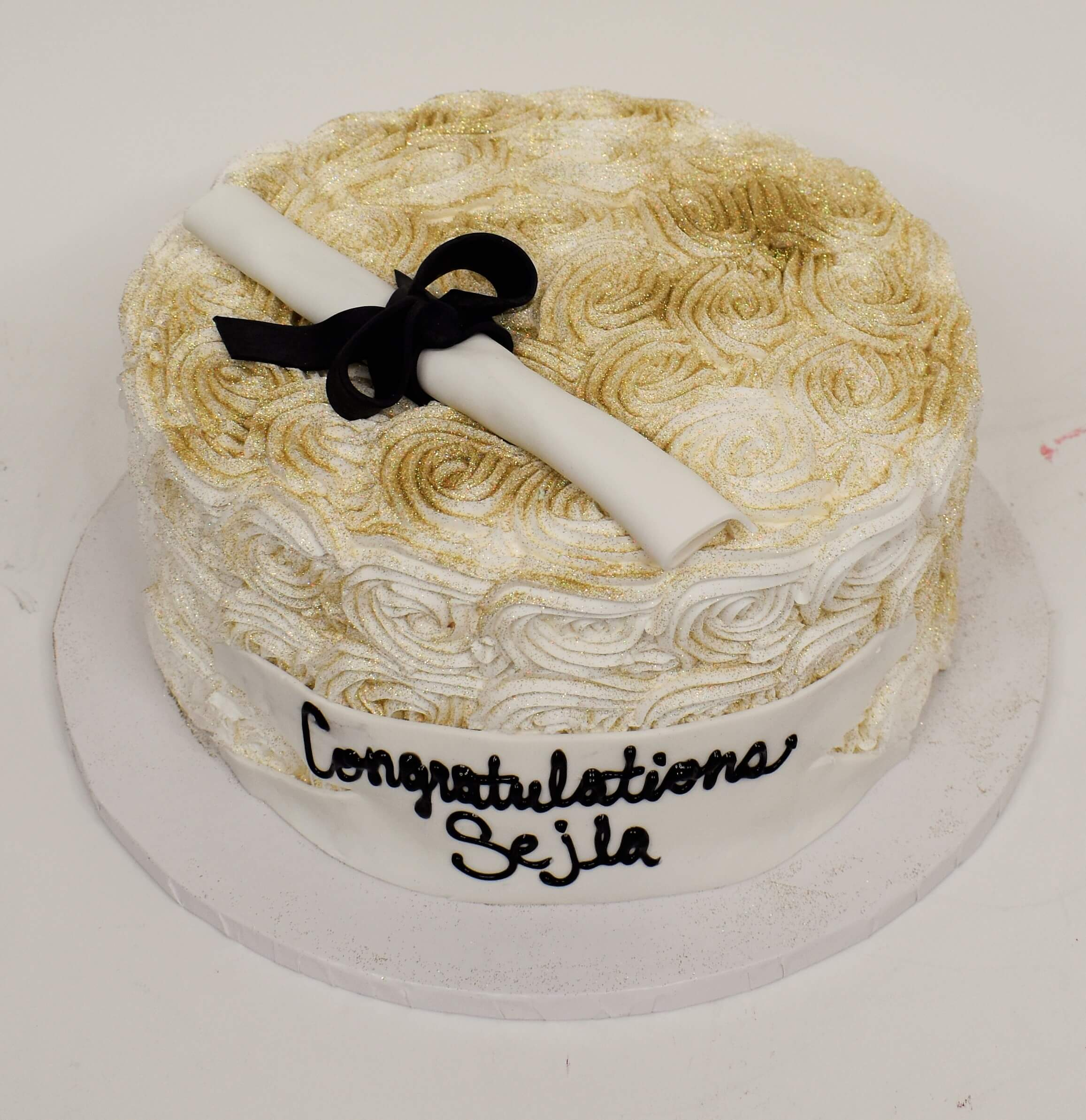 McArthur's Bakery Custom Cake With White Rosettes And Gold Dust Graduation