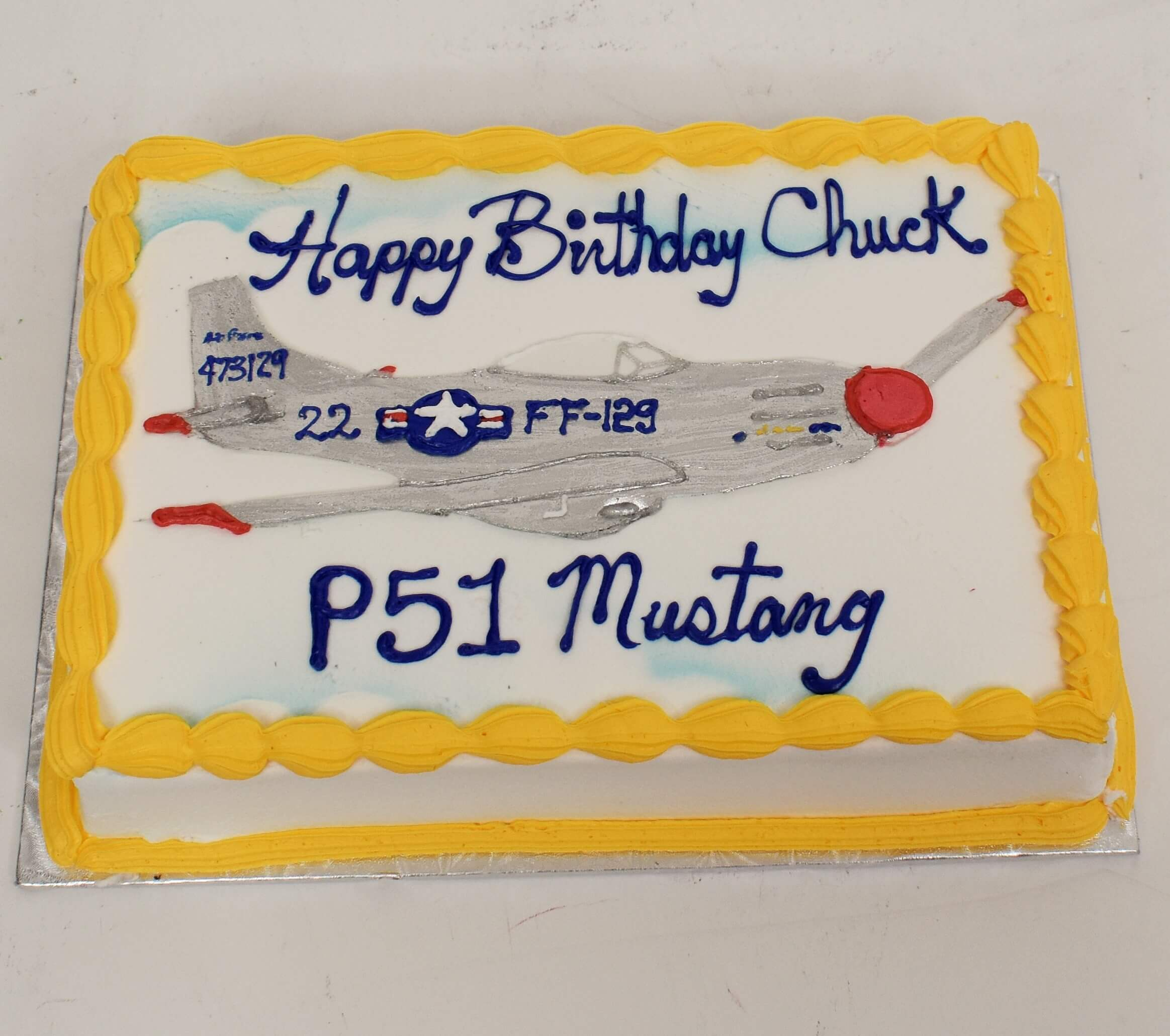 McArthur's Bakery Custom Cake With P51 Mustang Airplane