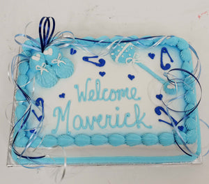 McArthur's Bakery Custom Cake With Light Blue Baby Booties