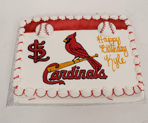 McArthur's Bakery Custom Cake With St. Louis Cardinals Logo And Bird On Bat