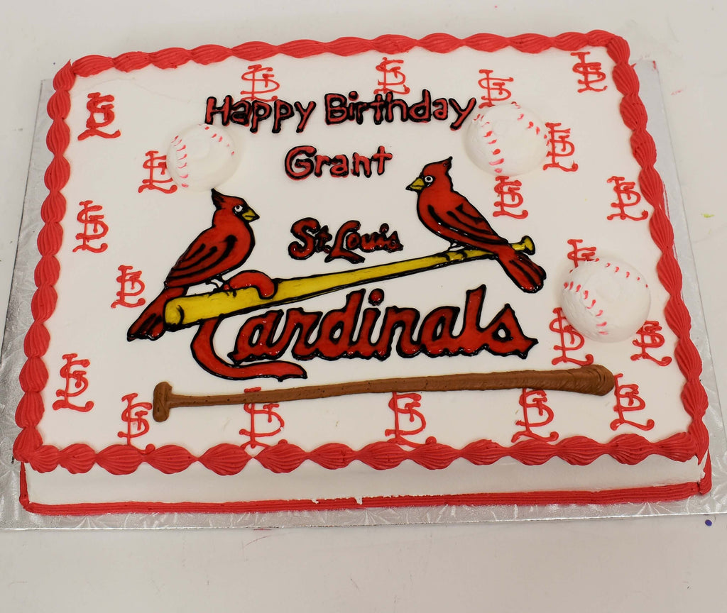 McArthur's Bakery Custom Cake With St. Louis Cardinals And Two Birds On Bat