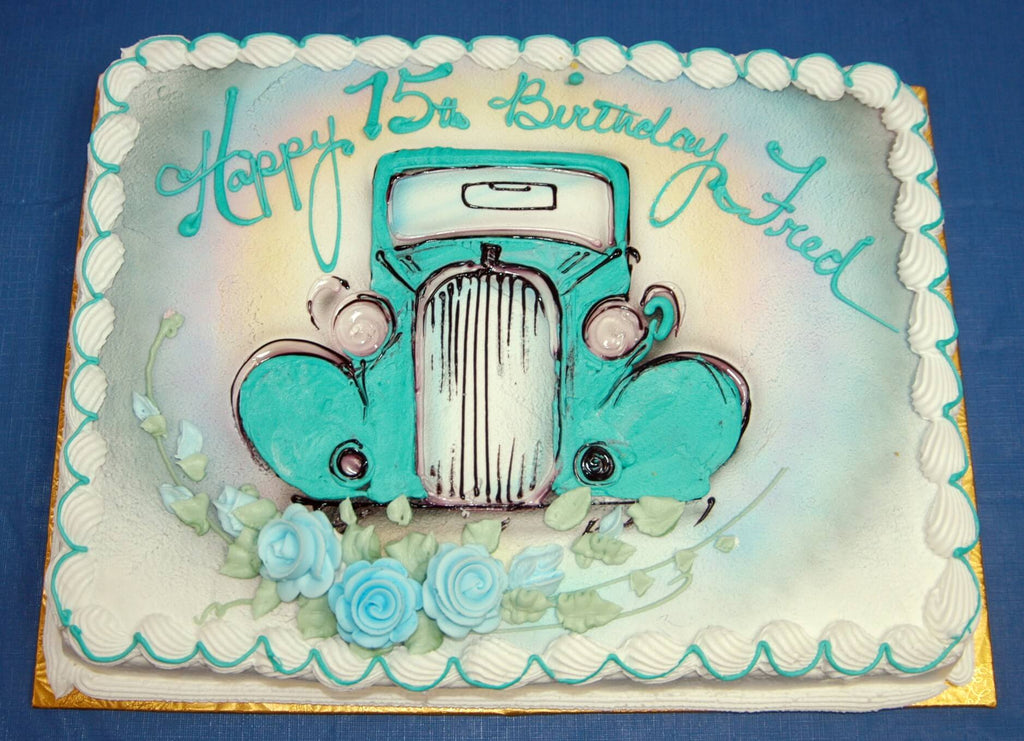 McArthur's Bakery Custom Cake with Blue Vintage Car, Roses and Rainbow