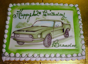 McArthur's Bakery Custom Cake with Green Vintage Sports Car