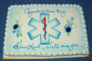 MaArthur's Bakery Custom Cake with Medical Symbol