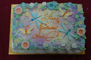 MaArthur's Bakery Custom Cake with Butterflies, Dragonfilies and Flowers