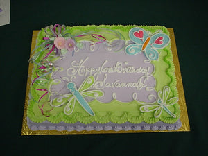McArthur's Bakery Custom Cake with Green Icing, Butterflies, Dragonflies and Flowers