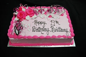 McArthur's Bakery Custom Cake with Hot Pink Roses and Ribbon