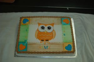 MaArthur's Bakery Custom Cake with Owl and Hearts