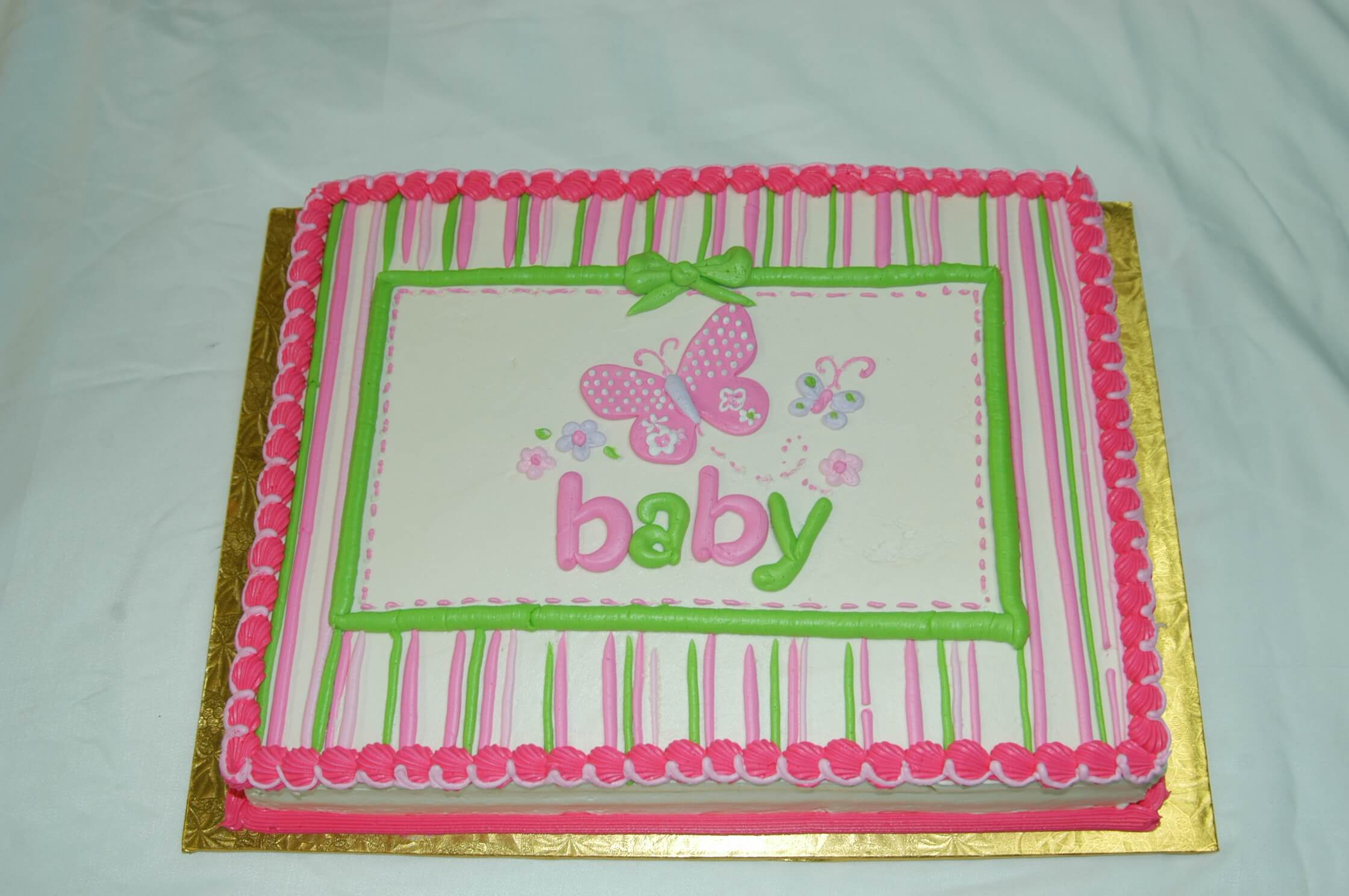 McArthur's Bakery Custom Cake with Pink and Green Stripes and Butterflies