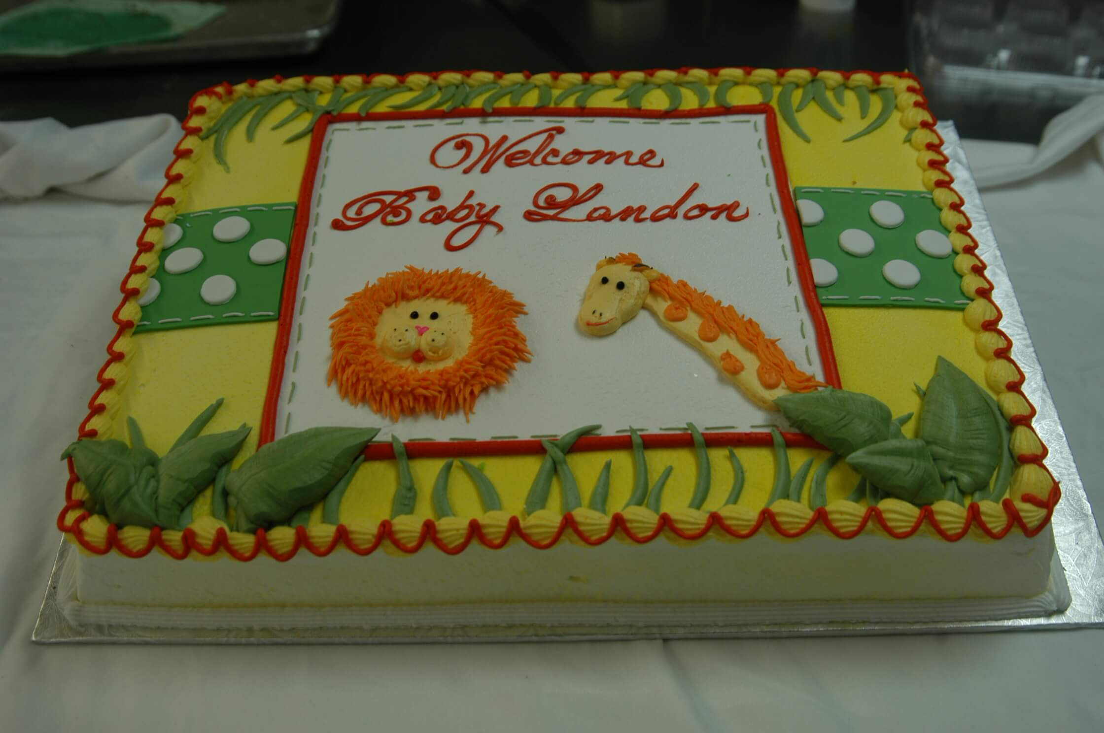 McArthur's Bakery Custom Cake with Lion and Giraffe