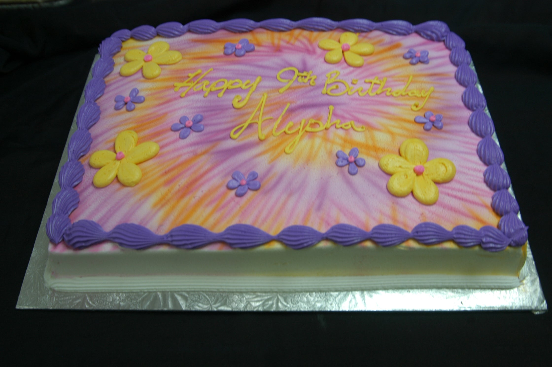 Pink and Purple Tie Dye Cake