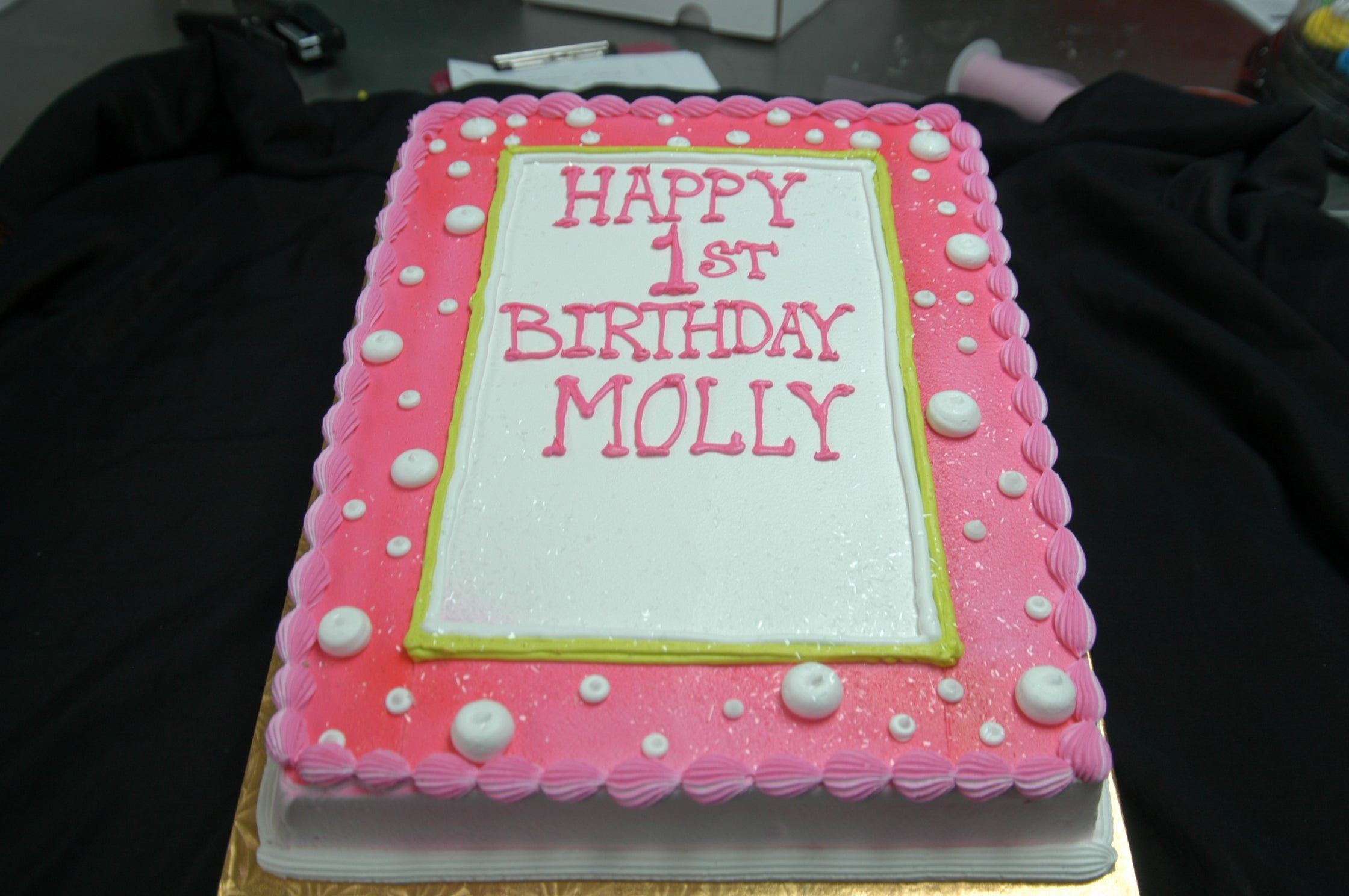 McArthur's Bakery Custom Cake with Pink Cake with White Polka Dots