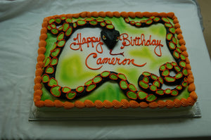 McArthur's Bakery Custom Cake with Black, Green and Orange Snake