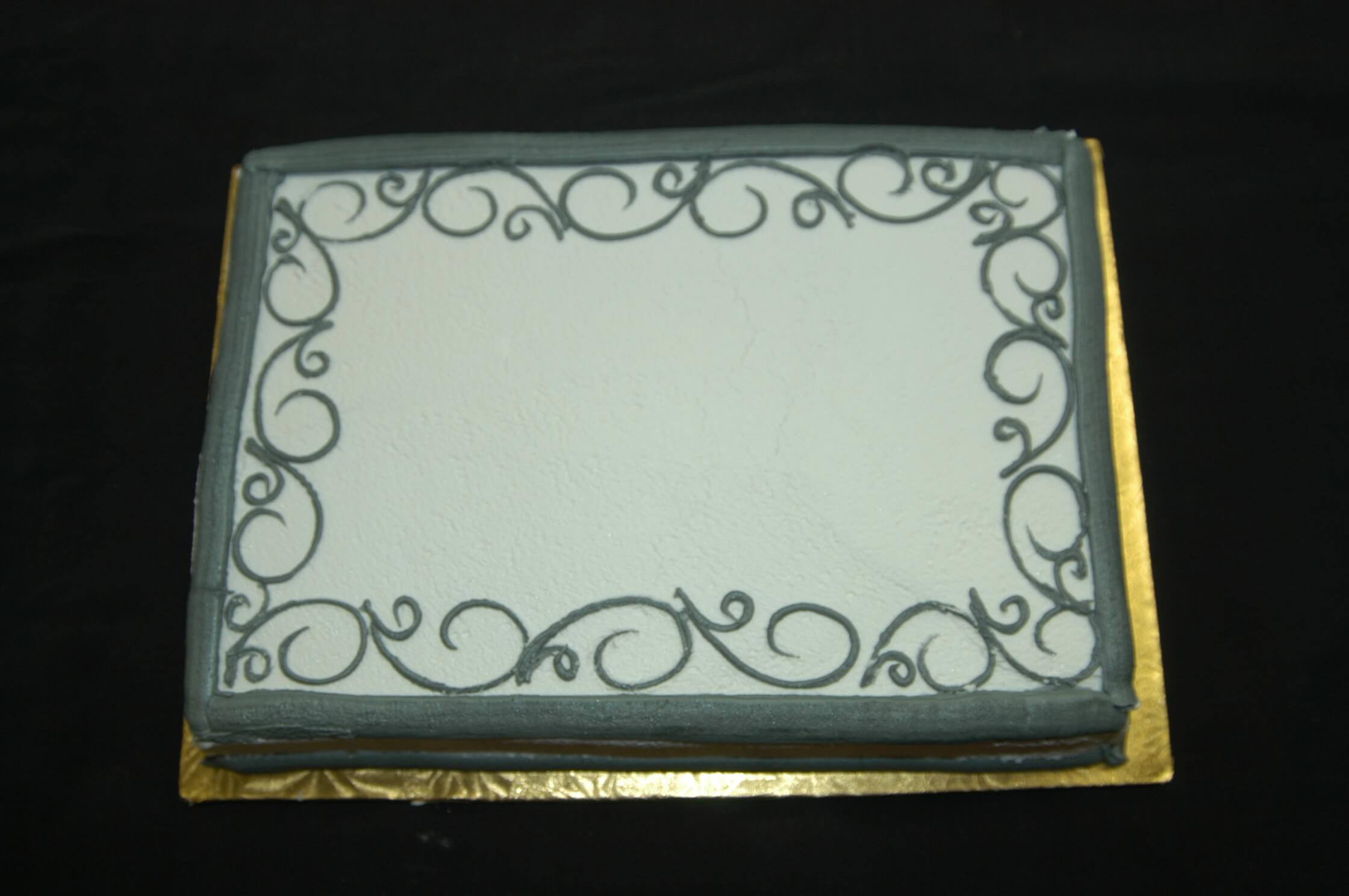 McArthur's Bakery Custom Cake with Simple Grey Scrolling