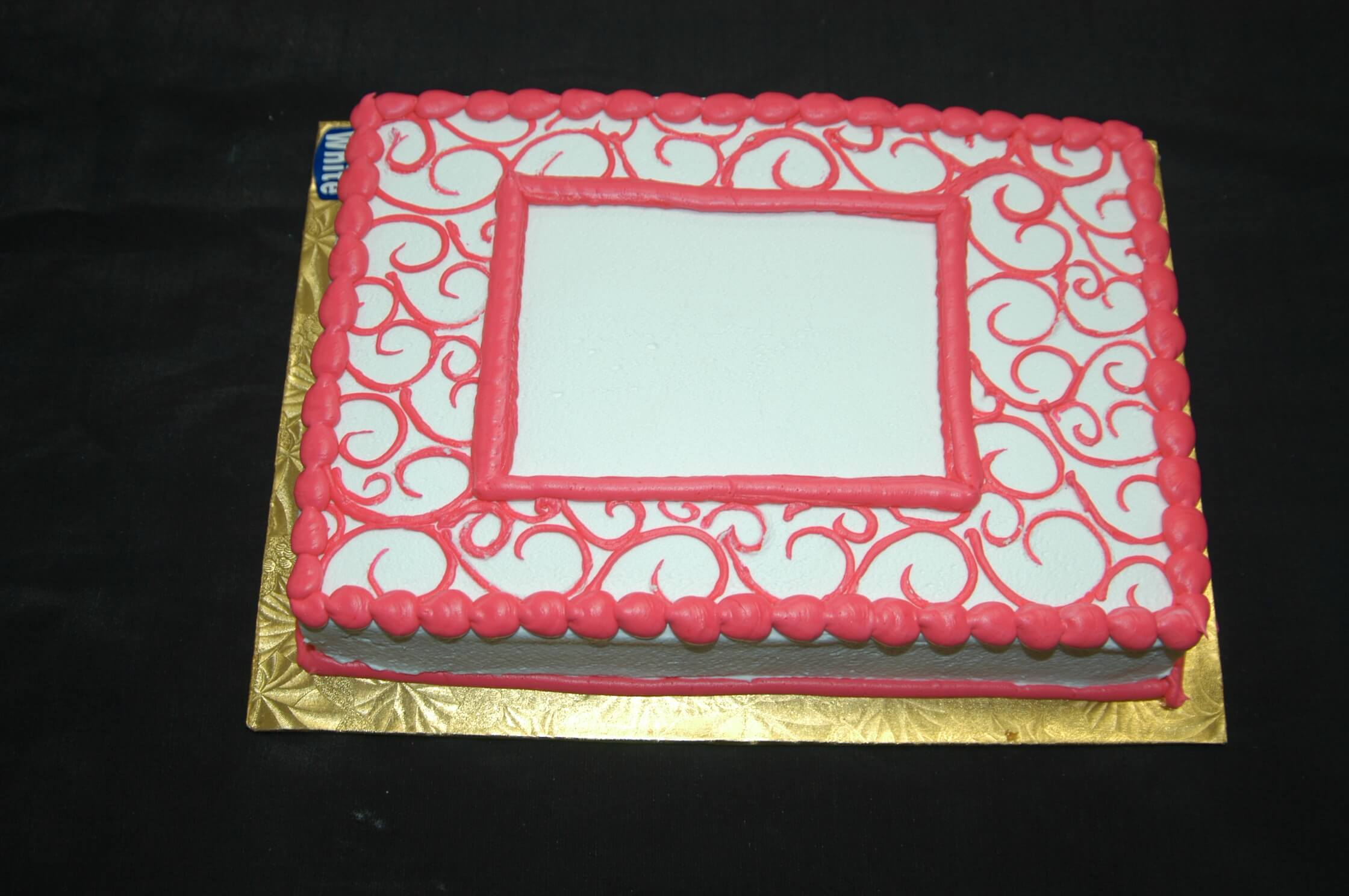 McArthur's Bakery Custom Cake with Simple Red Scrolling
