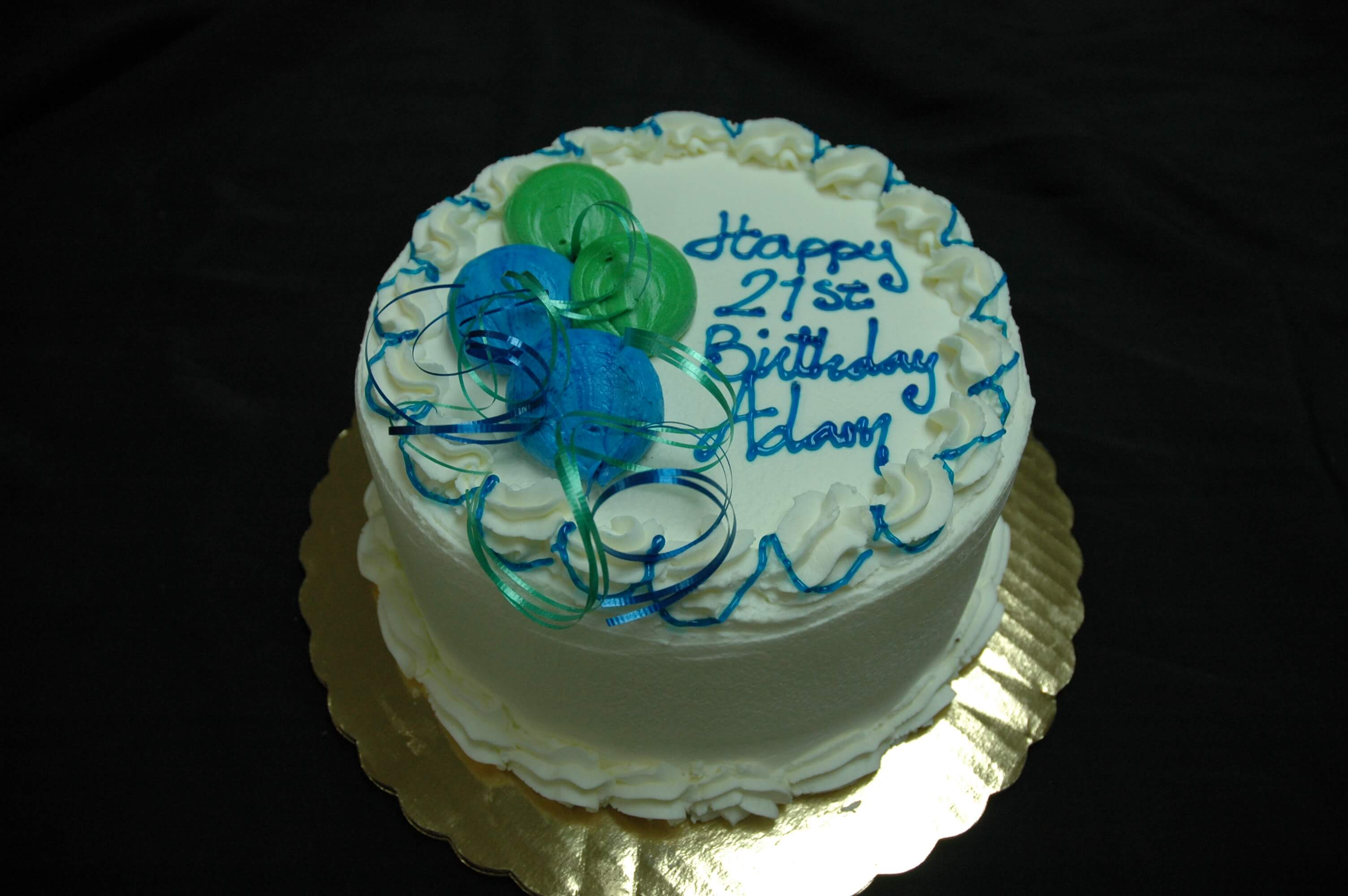 McArthur's Bakery Custom Cake with Green and Blue Balloons