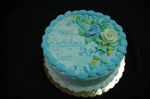 MaArthur's Bakery Custom Cake with Blue and Yellow Roses