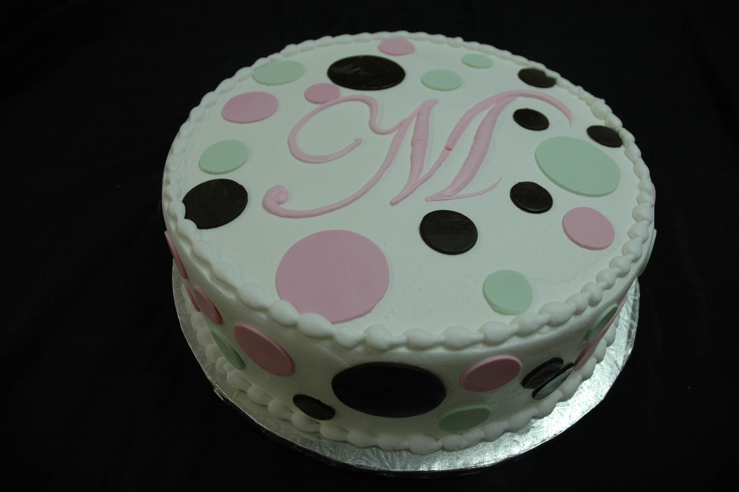 MaArthur's Bakery Custom Cake with Initial and Fondant Dots