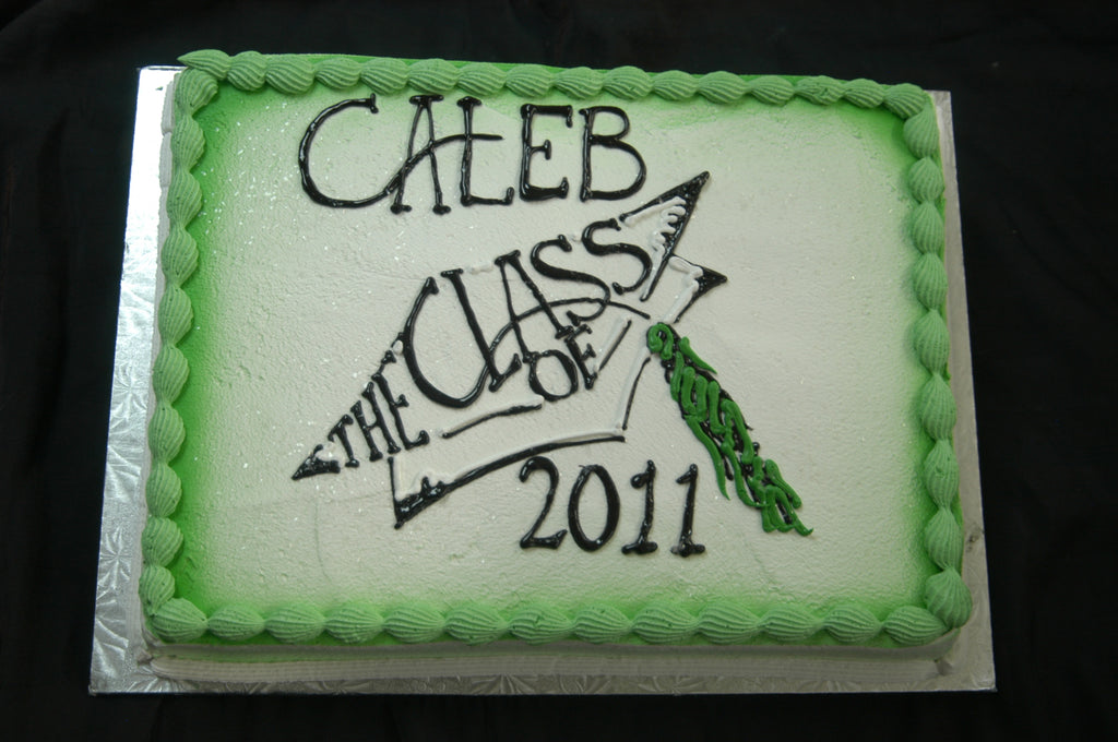 MaArthur's Bakery Custom Cake with Green background, Graduation Cap and Tassel