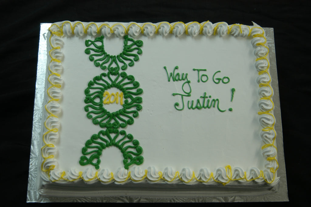 MaArthur's Bakery Custom Cake with Green Swirl Design