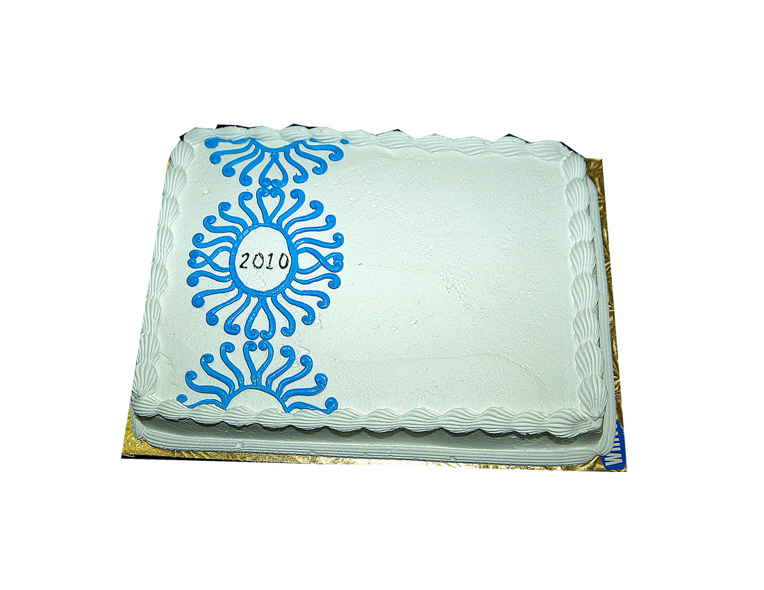 MaArthur's Bakery Custom Cake with Blue Aztec Design
