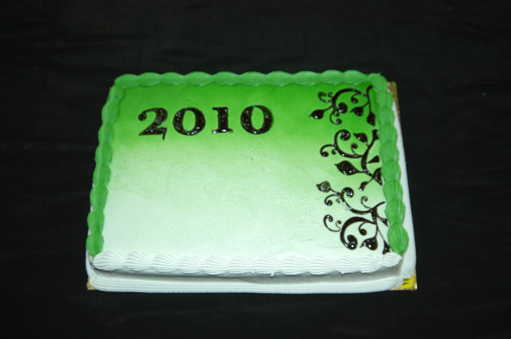 MaArthur's Bakery Custom Cake with Green Background and Black Ivy