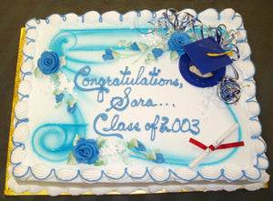 McArthur's Bakery Custom Cake with Large Scroll and Graduation Cake