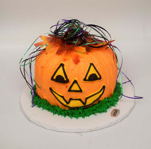 A McARthur's Party Cake of a Smiling Pumpkin for Halloween.