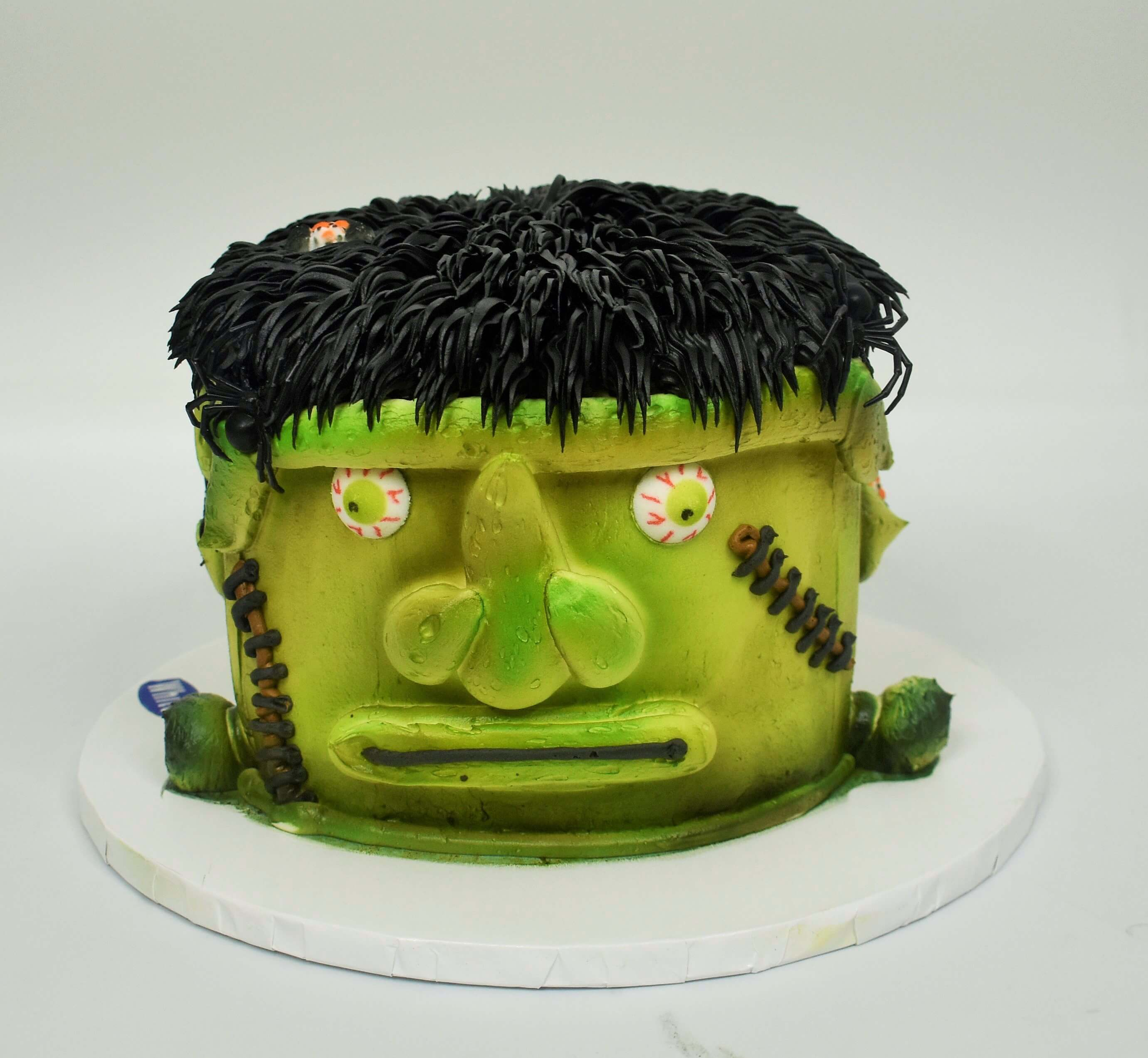 A McArthur's Party Cake of a scary Frankenstein head for Halloween