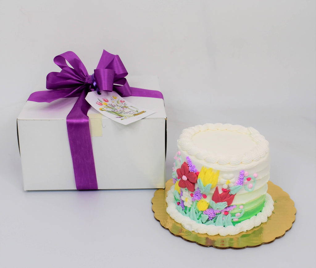 Colorful Spring Flowers Cake Gift Set