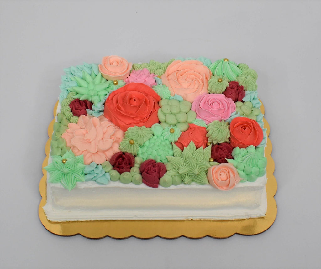 Spring Garden In Bloom Cake (1/8 Sheet)