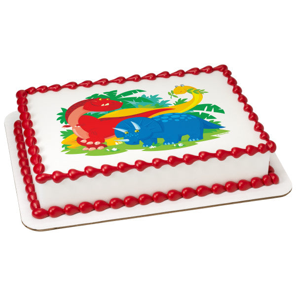 McArthur's Bakery Custom Cake with Red, Blue and Yellow Dinasour Scan
