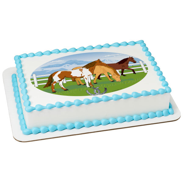 MaArthur's Bakery Custom Cake with Graving Horses