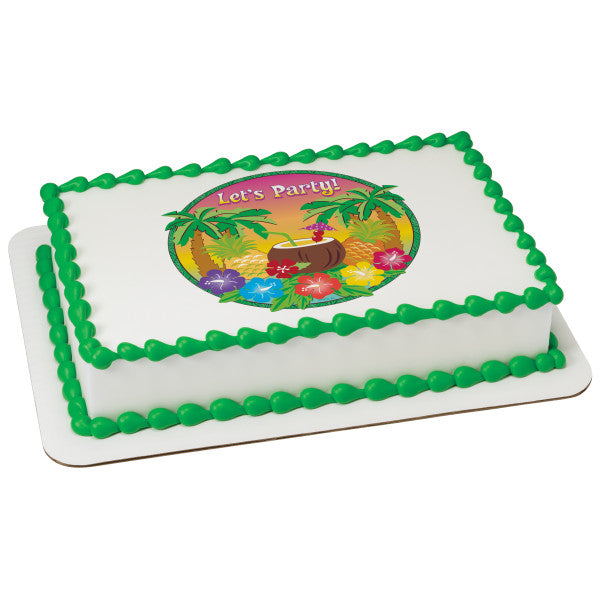 MaArthur's Bakery Custom Cake with Let's Party Tropical Scan