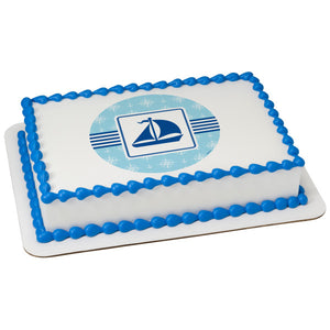MaArthur's Bakery Custom Cake with Blue Sailboat, Blue Trim