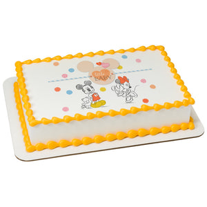 MaArthur's Bakery Custom Cake with Mickey Mouse and Minnie Mouse, Hearts, Polka dots Scan